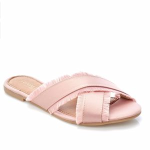 Brand New in Box Andre Assous Gorgeous Blush Satin Crisscross Slide Sandals Size 7 for Sale in West Palm Beach, FL