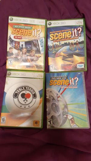 Lot of 4 XBOX 360 Games 3 Scene It games and Table Tennis ALL with Books for Sale in Fort Lauderdale, FL