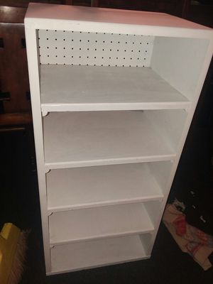 White wood 5 shelf storage cabinet 35 inches tall x 17 x 12 for Sale in Missouri City, TX