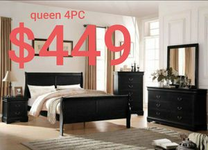Black queen 4pc sleigh bedroom set . Silver/ white or grey available for Sale in Buena Park, CA