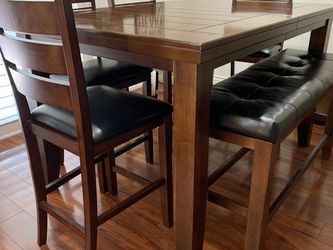 Wooden Dining Table Seat 6 W/ Bench And Extension for Sale in Garden Grove,  CA