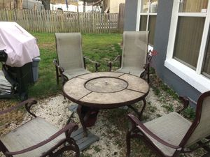 Outdoor Furniture 4 chairs and fireplace table for Sale in Davenport, FL