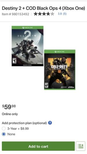 Destiny 2 + COD Black Ops 4 (Xbox One) for Sale in San Diego, CA
