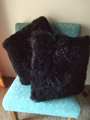 New 2 black fur pillows 16 x 16 for Sale in Fort Myers, FL