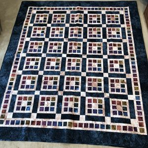 Quilt 79X89 HAND DYED Cotton Fabric! Pattern 'Imagine That' In Dark Blue Base Fabric for Sale in Redlands, CA