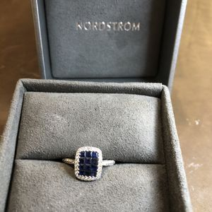 Bony Levy 18K White Gold Pave Sapphires & Diamond Halo Stacking Ring - Size 6.5 for Sale in Ashburn, VA