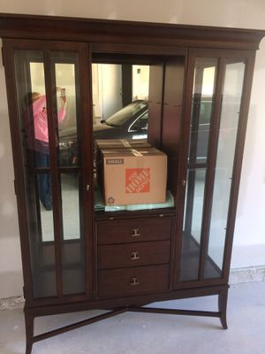 Display cabinet with fold out desk for Sale in Alexandria, VA