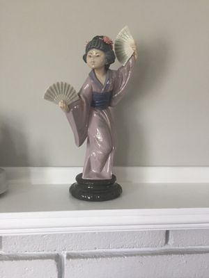 """Retired Lladro Porcelain Figurine Madame Butterfly Japanese Geisha Fans 11"""" for Sale in Ashland, MA"""
