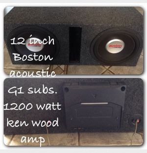 Two 12 inch Boston G1 subs with 1200 watt kenwood amp with wire harness for Sale in Scottsdale, AZ