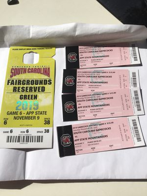 Gamecock tickets with parking pass!!! for Sale in Columbia, SC