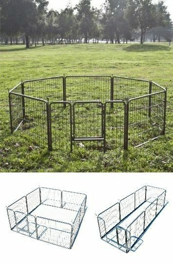 """New 24"""" Tall x 32"""" Wide Panel Heavy Duty 8 Panels Dog Playpen Pet Safety Fence Adjustable Shape and Space"""