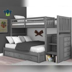 Twin Over Full Bunk Bed. SPECIAL OFFER. $53 DOWN PAYMENT for Sale in Orlando,  FL