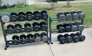 Pro Dumbbells 20s-90s (No 65s) with Racks for Sale in Arnold, MD