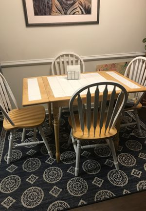 Nice white tiled kitchen table and 4 chairs for Sale in Richmond, VA