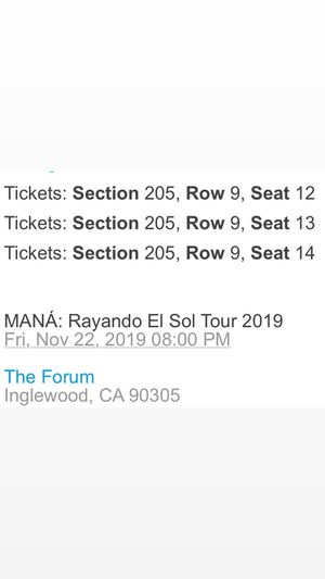 MANÁ FRIDAY CONCERT TICKETS LA 3 for 200 for Sale in Los Angeles, CA