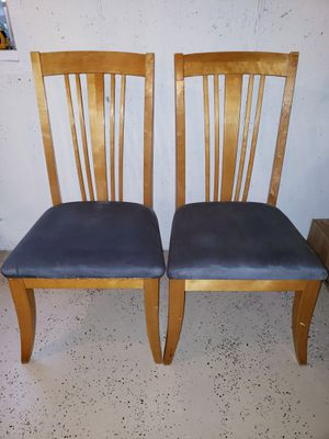 LIKE NEW, TWO DINING ROOM CHAIRS ONLY WITH FOREST GREEN SOFT FABRIC. for Sale in Joliet, IL