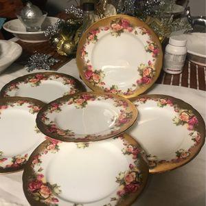 Royal Chelsea Golden Rose Dessert Plates for Sale in Silver Spring, MD