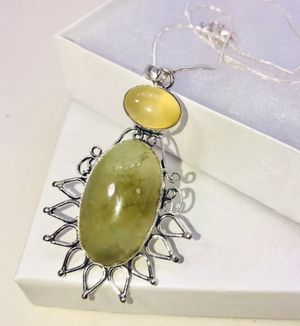 Natural Green Prehnite large oval stone & Yellow Quartz stone & .925 stamped sterling silver embellished necklace NEW! for Sale in Carrollton, TX