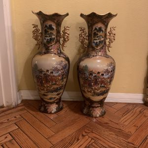 TALL VASE CHINOISERIE FLORAL YELLOW GOLD for Sale in Beverly Hills, CA