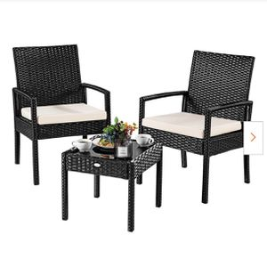 New 3-Pieces Outdoor Rattan Furniture Patio Conversation Set Backyard Garden Furniture Seat Cushione for Sale in Hacienda Heights, CA