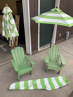 Pottery Barn kids (2) Adirondack Chairs + umbrellas for Sale in Chanhassen, MN