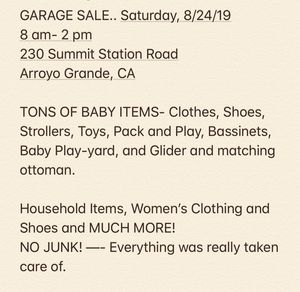 GARGE SALE - SATURDAY, AUGUST 23, 2019 for Sale in Grover Beach, CA