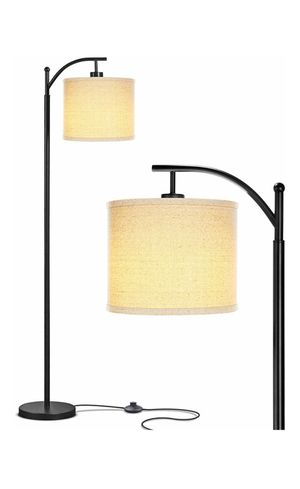 BRIGHTECH Montage LED Standing Light with Arc Hanging Shade - Indoor, Tall Pole Lamp for Office - Suits Mid Century Modern & Farmhouse (Black) for Sale in San Bernardino, CA