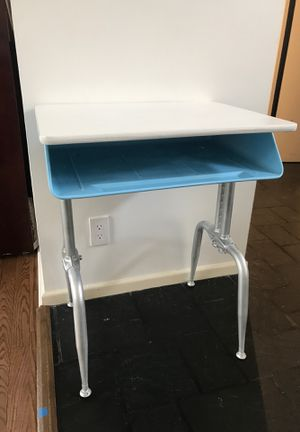 Vintage school desk, upcycled - blue, white, silver for Sale in Washington, DC