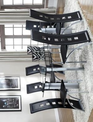 Echo Black/Silver Rectangular Dining Set | 7-PIECE (TABLE+6 CHAIRS) for Sale in Houston, TX