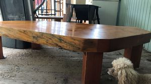 Large wood coffee table - does need some tlc but it's solid and beautiful with a little elbow Greece and oil for Sale in Bend, OR