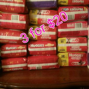 Huggies bags diaper........All sizes 3 for 20 for Sale in Miami, FL