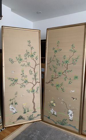 Chinoiserie hand painted silk wallpaper panels. for Sale in Denver, CO