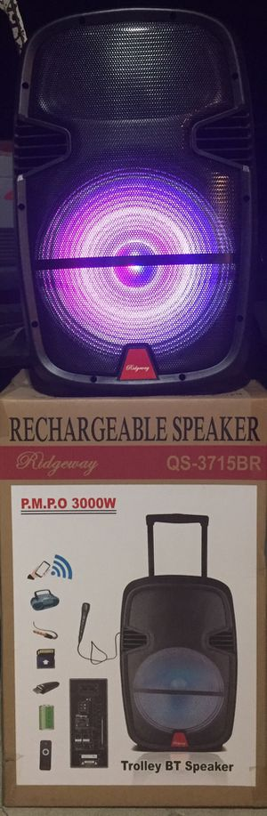 15 inch rechargeable Bluetooth speaker/aux/Fm/USB and SD port/microphone/karaoke/many styles available!! Brand new! for Sale in Moreno Valley, CA
