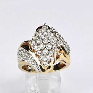 10k Gold Diamond Ring Stamped 10k 2ctw Size 7 w 7.08gr. Marquee shaped pyramid at the top made up of 25 diamonds with 13 on each side in a curved patt for Sale in Avondale, AZ