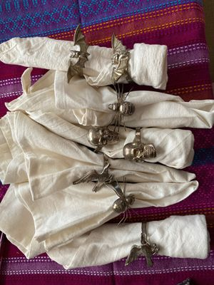 Silver napkin rings with crows skulls spiders and bats eight in total for Sale in Hillsboro, OR