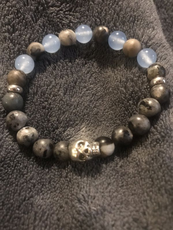Blue Aquamarine & Labradorite Skull Bracelet