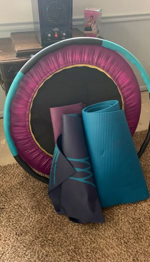 Trampoline, weight hoop and 3 yoga mats for Sale in Hillsboro, MO