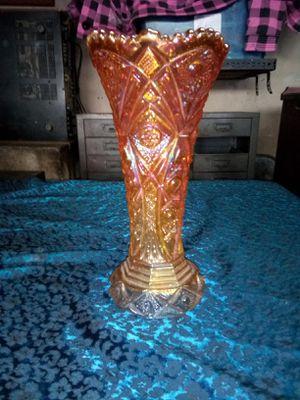 Tall orange carnival glass vase for Sale in Paramount, CA