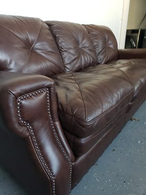 Kennedy Leather Brown Sofa Bed (Nearly New) (Pickup and Cash Only) for Sale for sale  Hasbrouck Heights, NJ