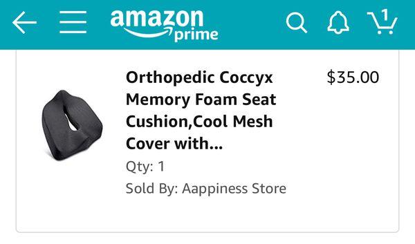 Orthopedic Coccyx Memory Foam Seat Cushion, Cool Mesh Cover with Anti-slip Bottom