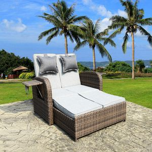 Outdoor Patio Rectangle Daybed 2 Pieces Wicker Rattan Furniture Sets All-Weather lounge bed for Sale in Atlanta, GA
