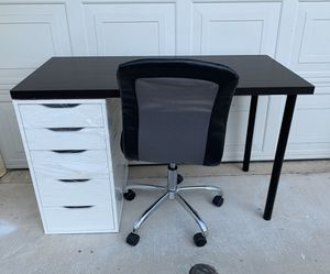 Table+Drawer+Leather Chair Set (table 23x47) *If the post is still up, it's available * for Sale in Monterey Park, CA