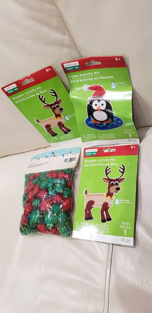 4 kids Christmas craft items. 2x make your own reindeer 1x make your own penguin and 1 bag of red and green tinsel pom poms crafts. for Sale in Ontario, CA