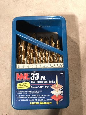 MIT NEW 33 Piece HSS titanium drill bit set for Sale in Middletown, PA
