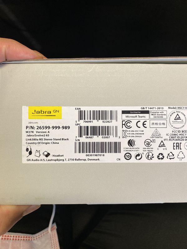 (BRAND NEW) Jabra Evolve2 65 MS Wireless Headphones with Link380a