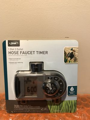 Brand new 2 outlet hose faucet timer. Allows you to easily program a sprinkler system for your faucet with rain delay feature and oversized display . for Sale in Baldwin, NY