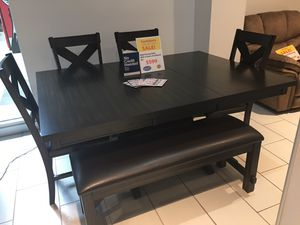 BEAUTIFUL KELLY DINING TABLE WITH 4 CHAIRS AND BENCH. SUPER SUMMER SALE EVENT BLOWOUT!!! SAME DAY DELIVERY! NO CREDIT CHECK FINANCING WITH ONLY $40 D for Sale in St. Petersburg, FL
