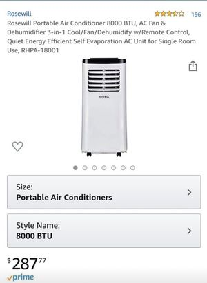 Rosewill Portable Air Conditioner 8000 BTU for Sale in Chandler, AZ
