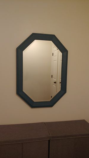 Large mirror painted blue-wood for Sale in Lake View, NY
