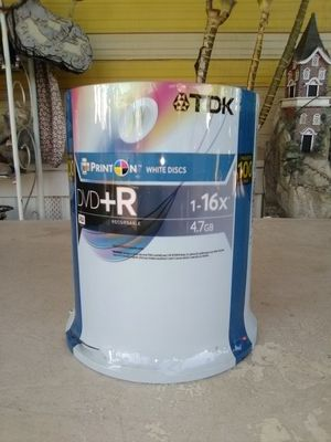 TDK DVD+R 16X 4.7GB White Printable Recordable Discs (100 Pack) New. L@@K!!! for Sale in Mesa, AZ